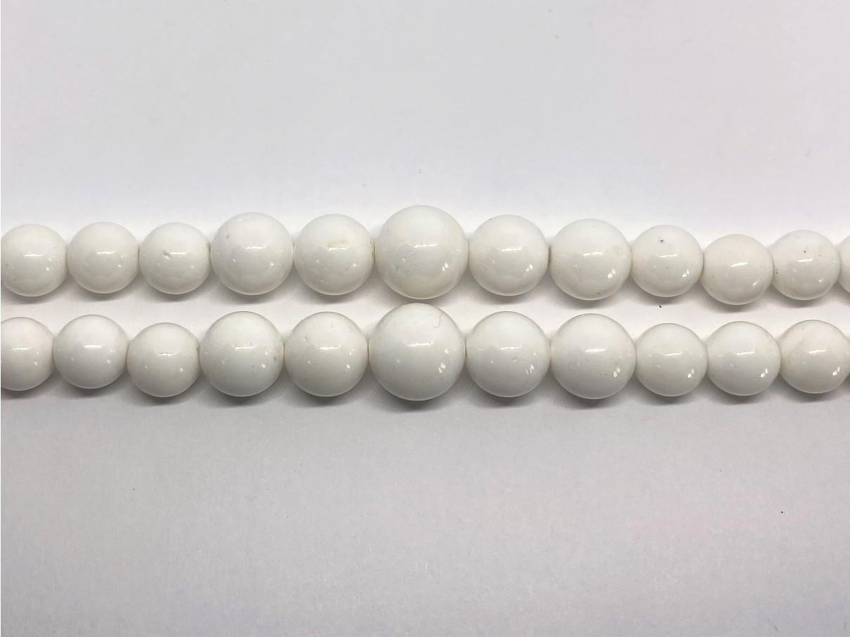 Hvide shell perler, gradueret rund 8-20mm