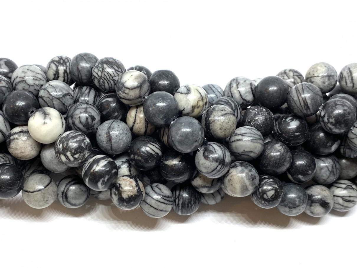 10mm black veined jaspis
