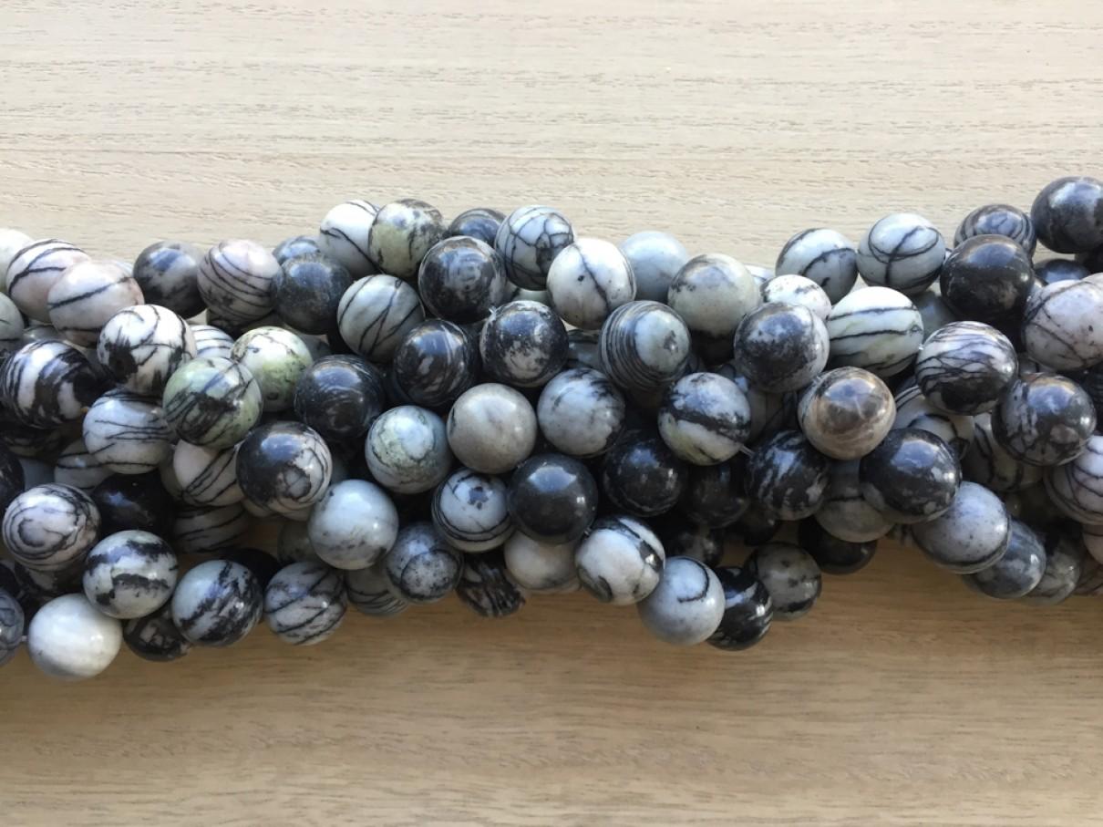 Black veined jaspis, rund 14mm