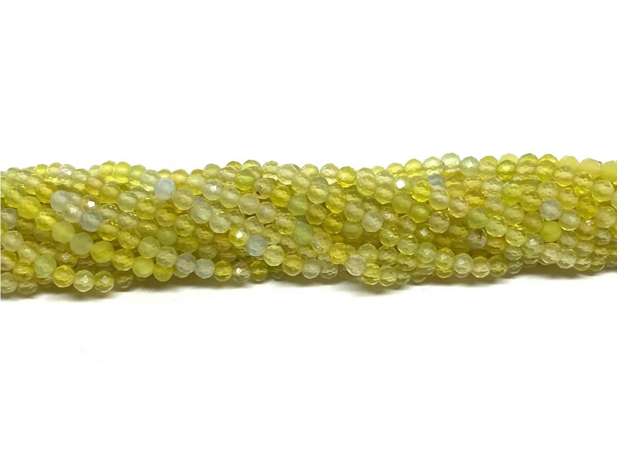 Naturlig gul agat, facetslebet rund 3mm, hel streng