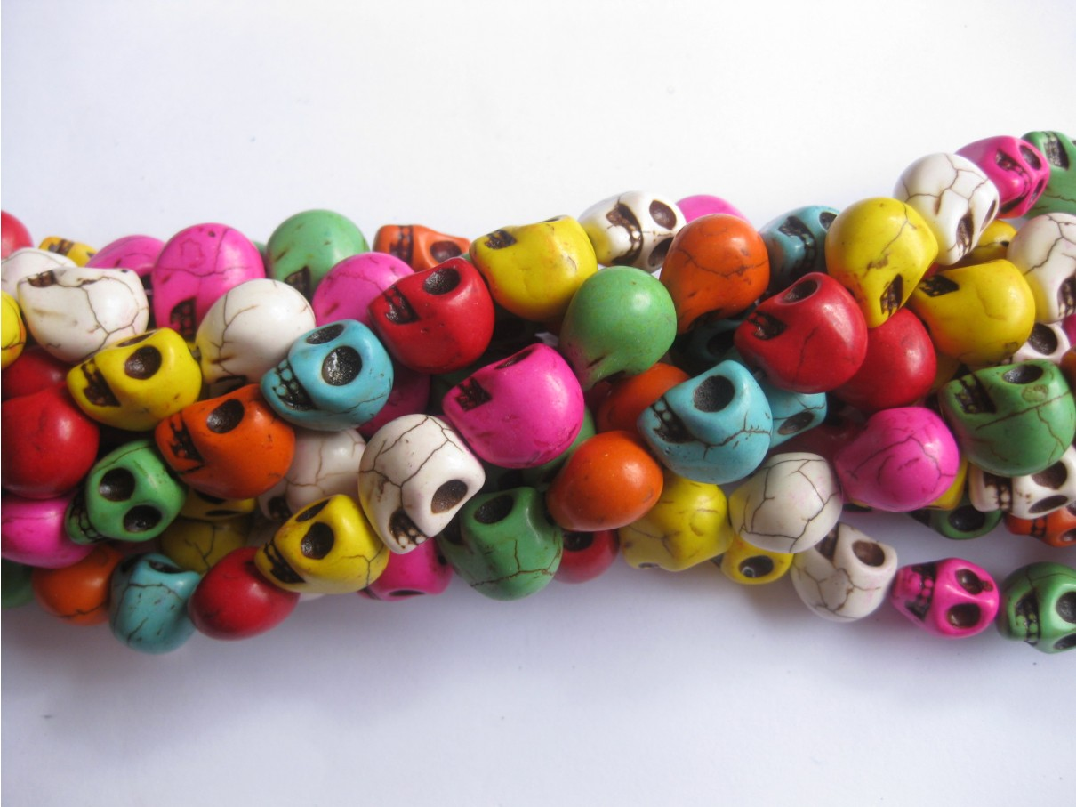 Magnesit skulls, multifarvet 10x12mm