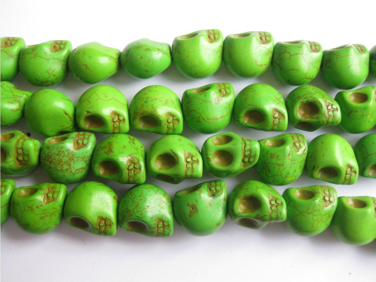 Magnesit skulls, grøn 14x18mm