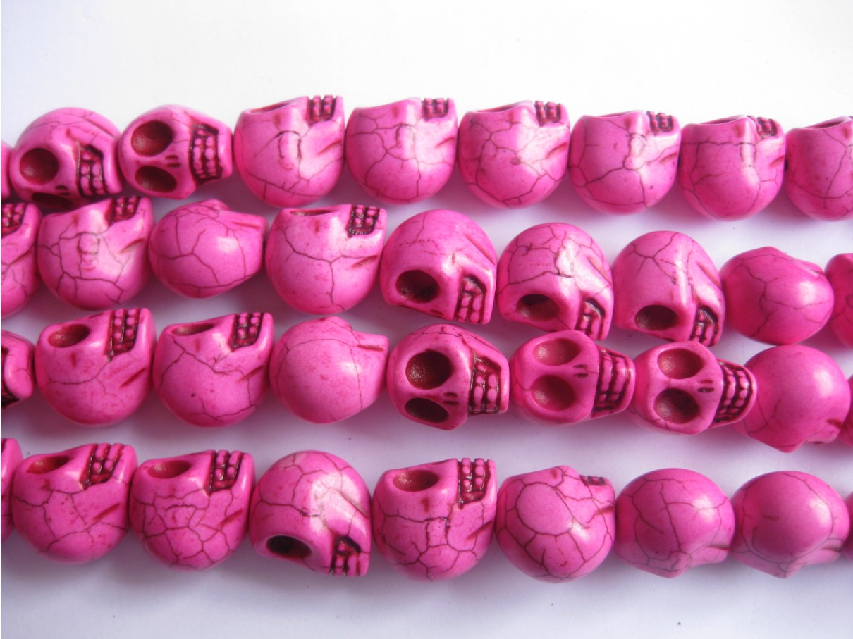 Magnesit skulls, pink 10x12mm