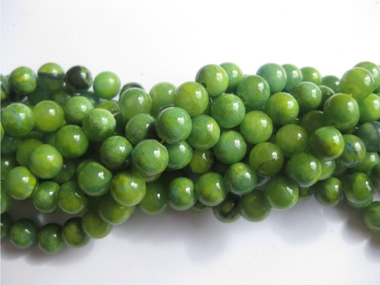 Gul-grøn mashan jade, rund 10mm-3