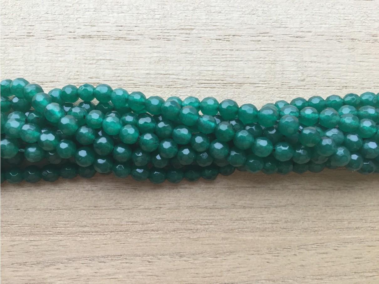 Grøn onyx, facetslebet rund 4mm, hel streng