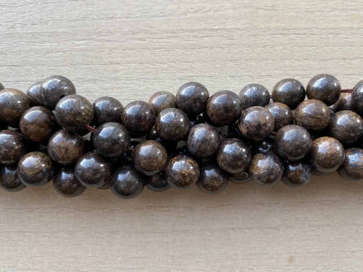 10mm runde bronzit perler
