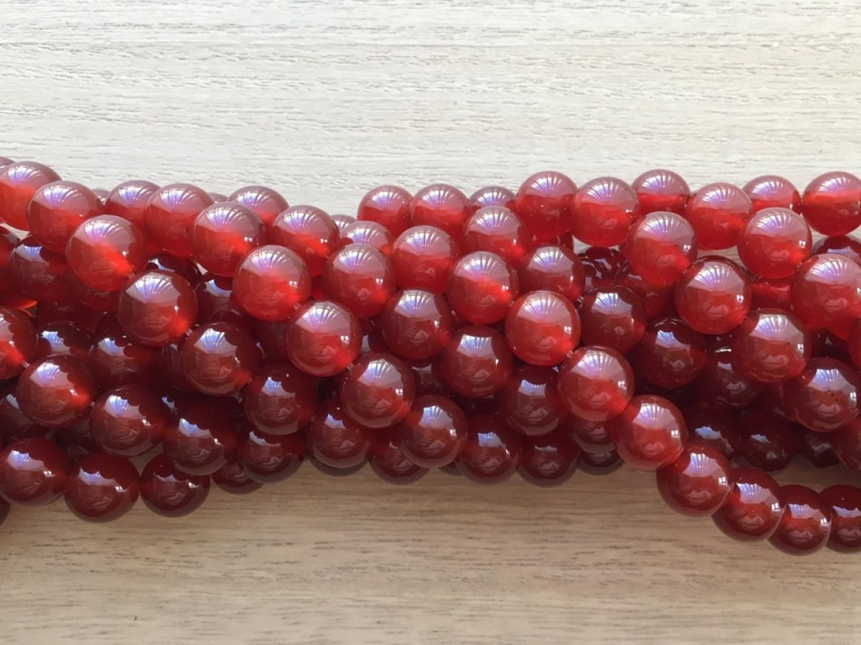 Rød agat, rund 10mm
