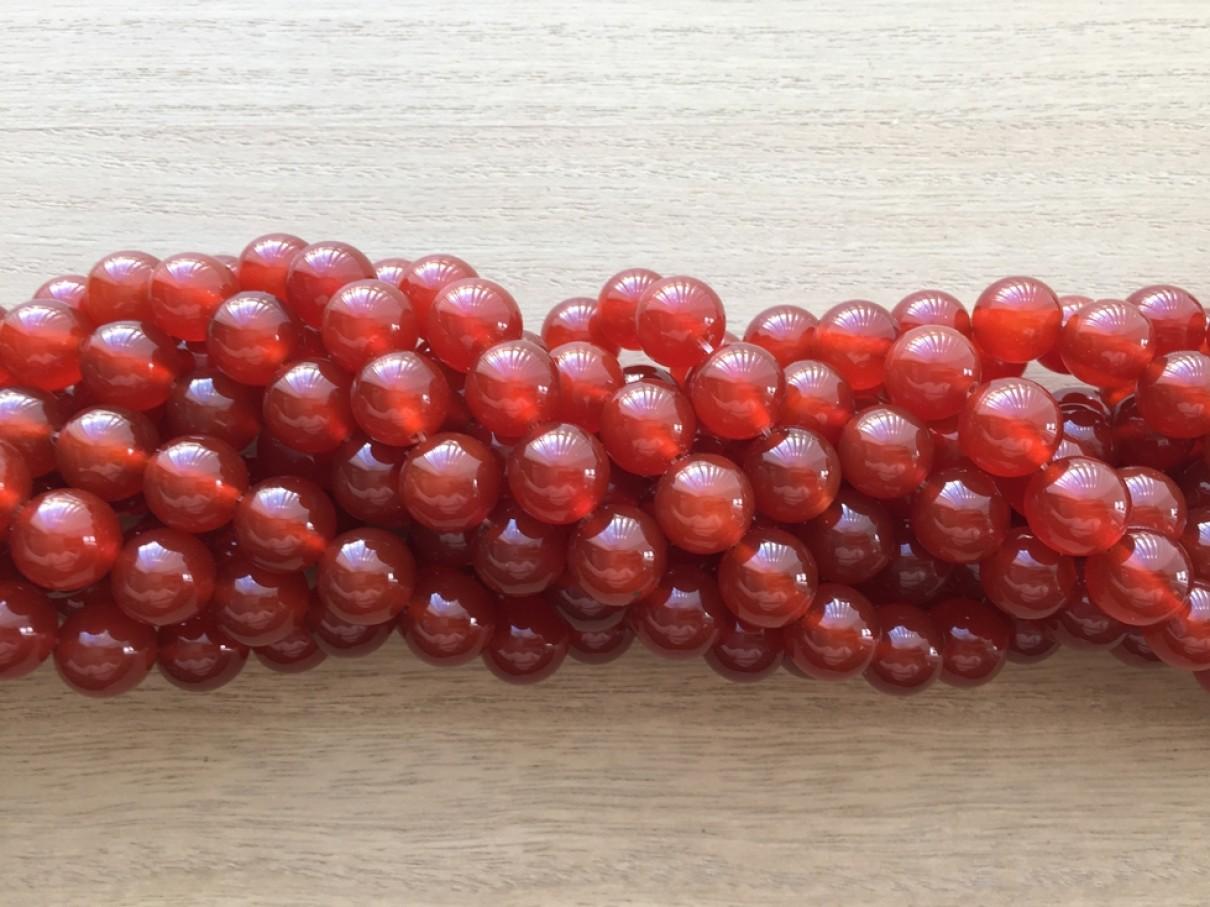 Rød agat, rund 12mm