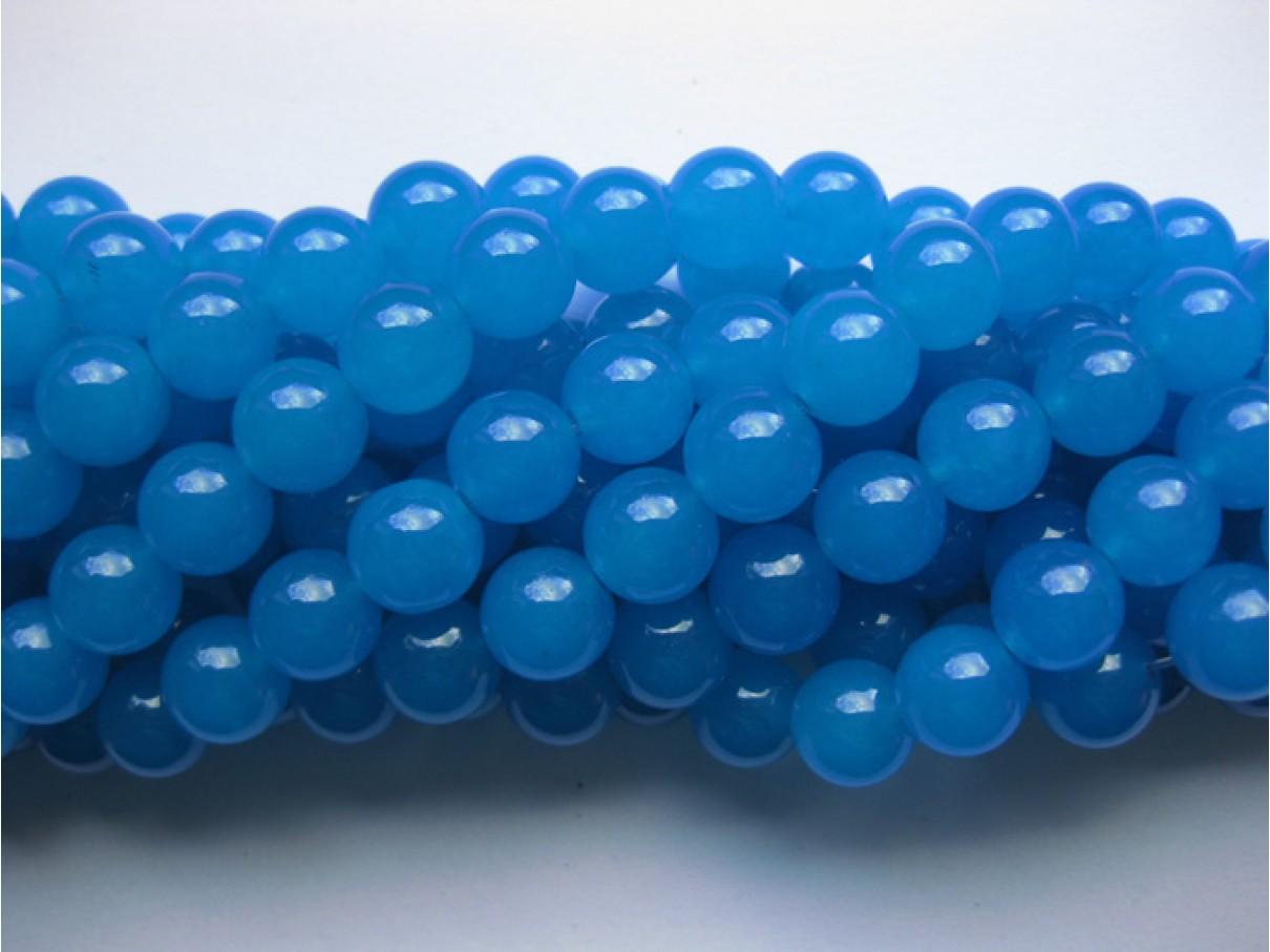 Farvet jade, dodger blå rund 10mm
