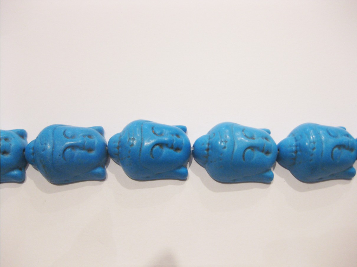 Dodger blå Buddha hoveder i syntetisk turkis 20x30mm