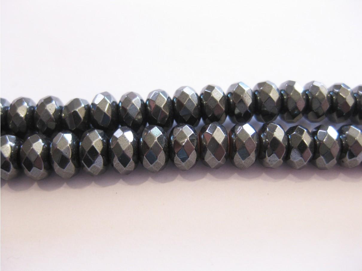 Hæmatit, facetslebne rondeller 6x10mm-0