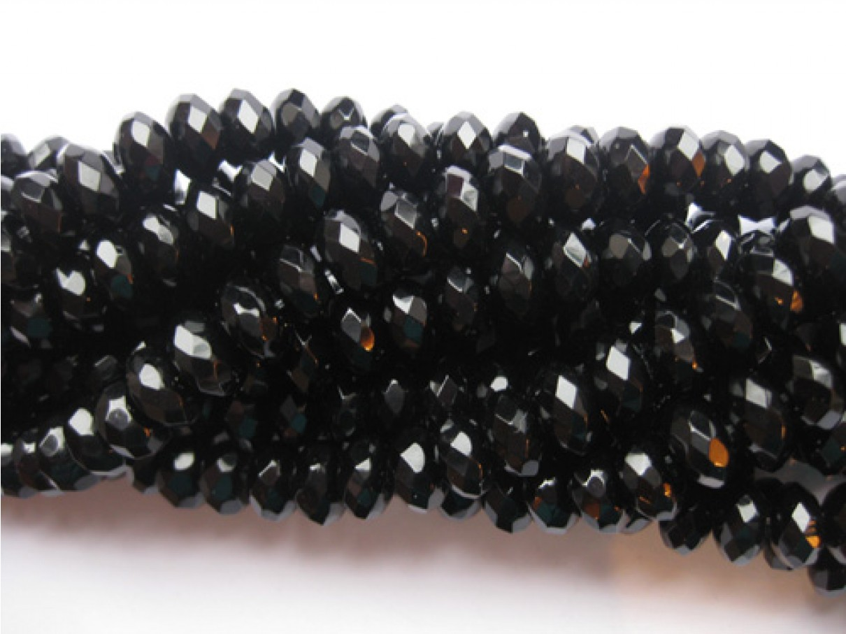 Onyx, facetslebne rondeller 6x10mm