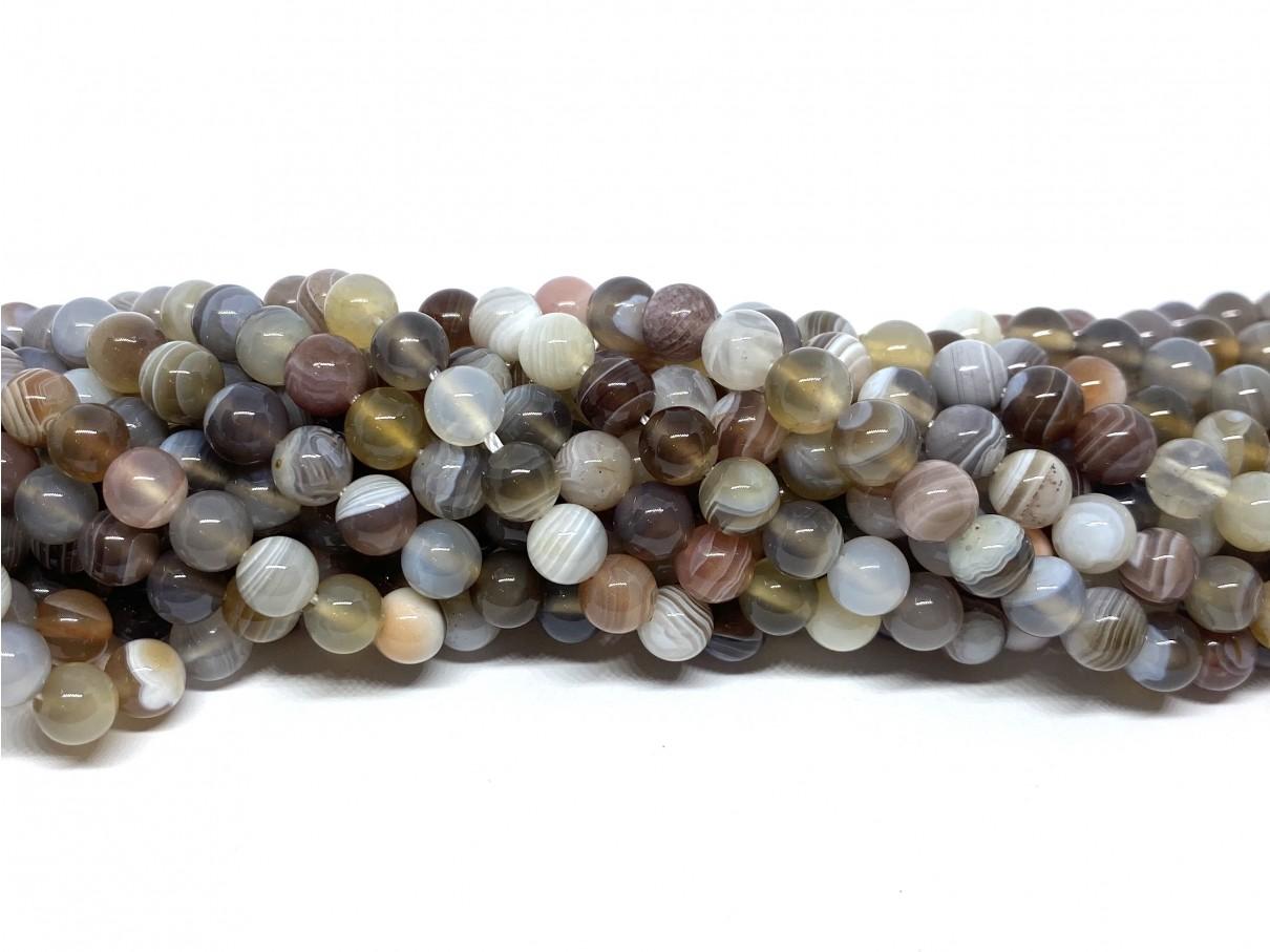 Botswana agat, rund 6mm, 11 perler