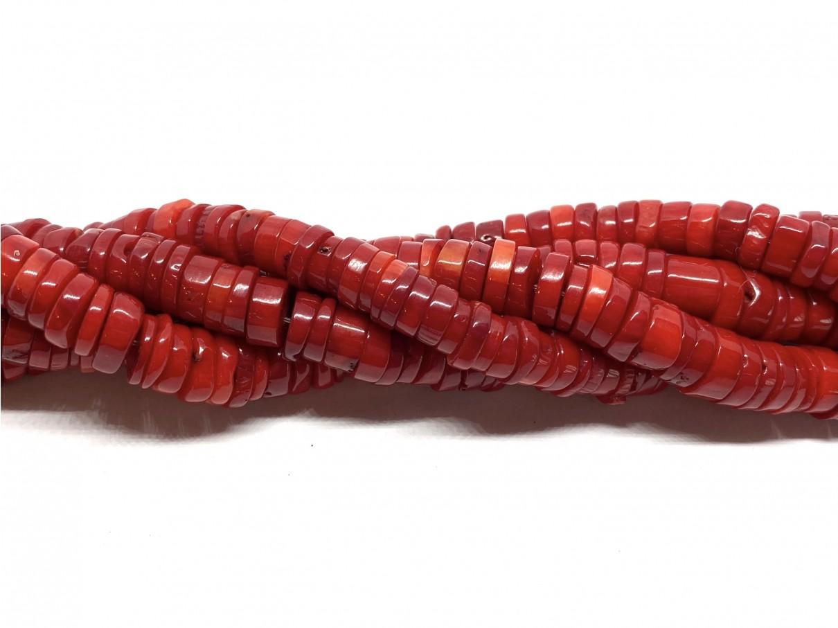 Rød koral, 2x9mm skiver, hel streng