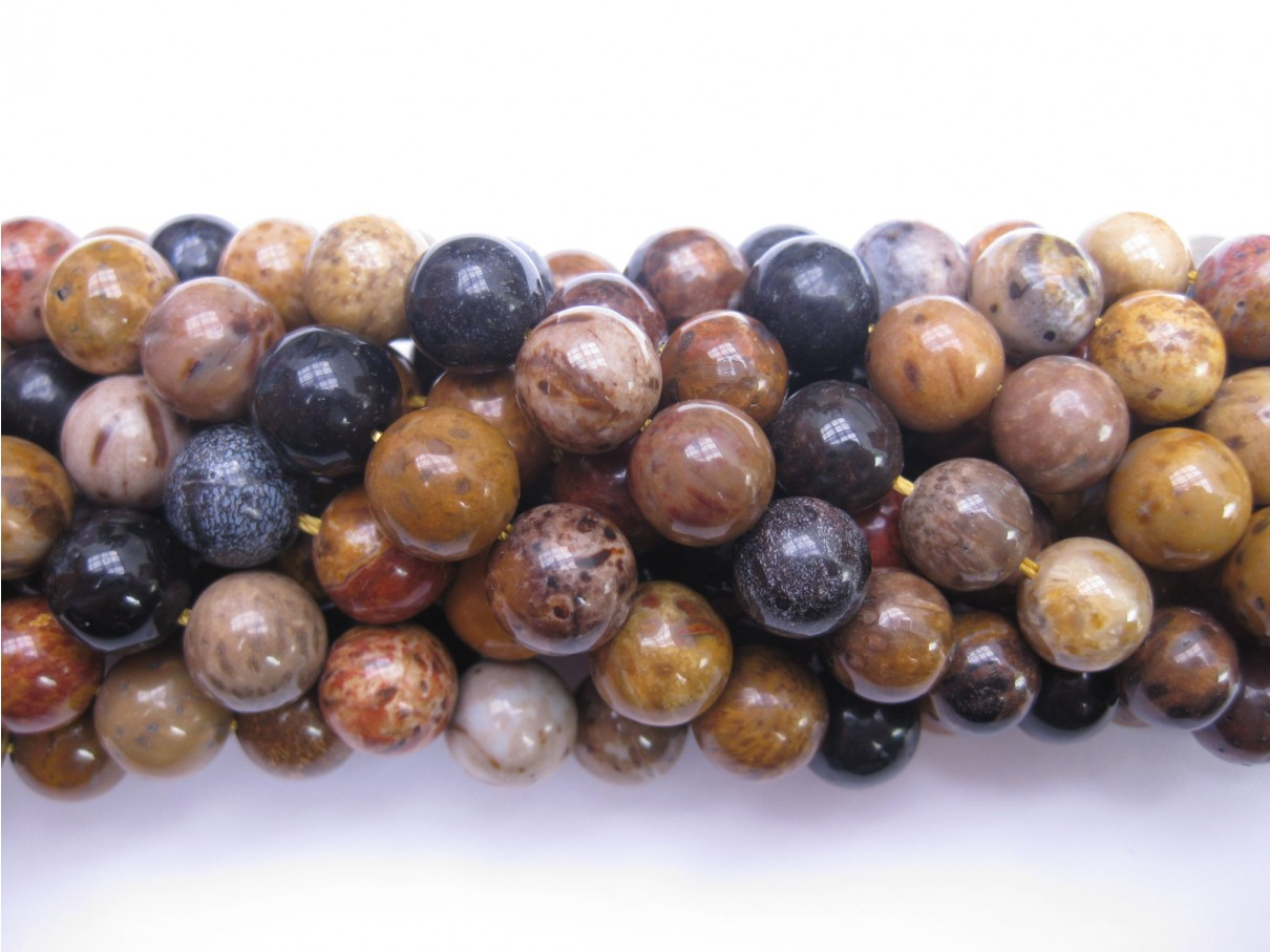 10mm perler af træ agat