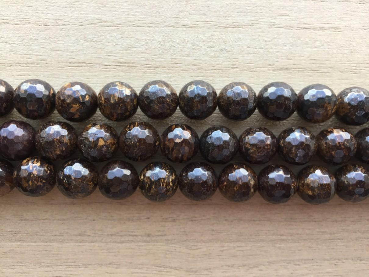 Bronzite, facetslebet rund 10mm