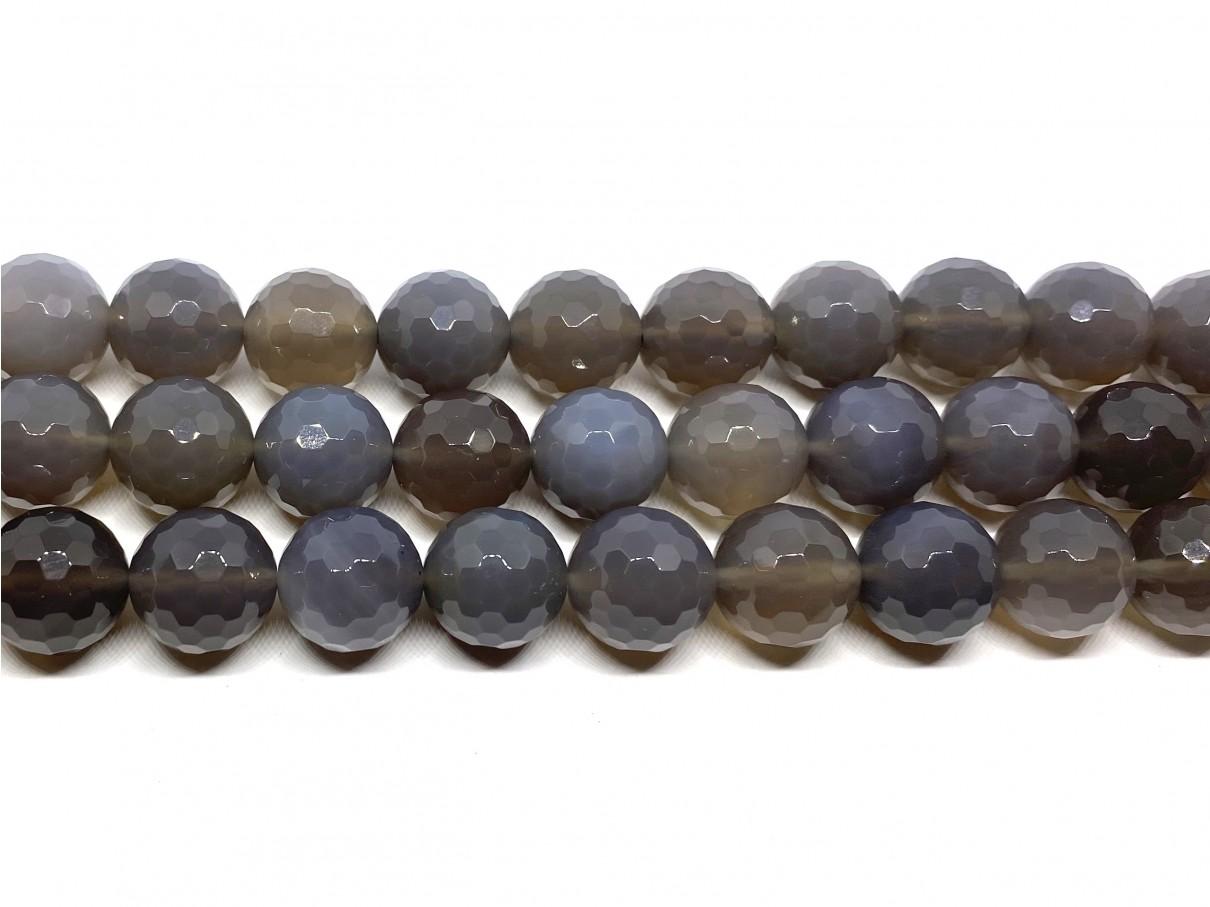 14mm facetslebet grå agat