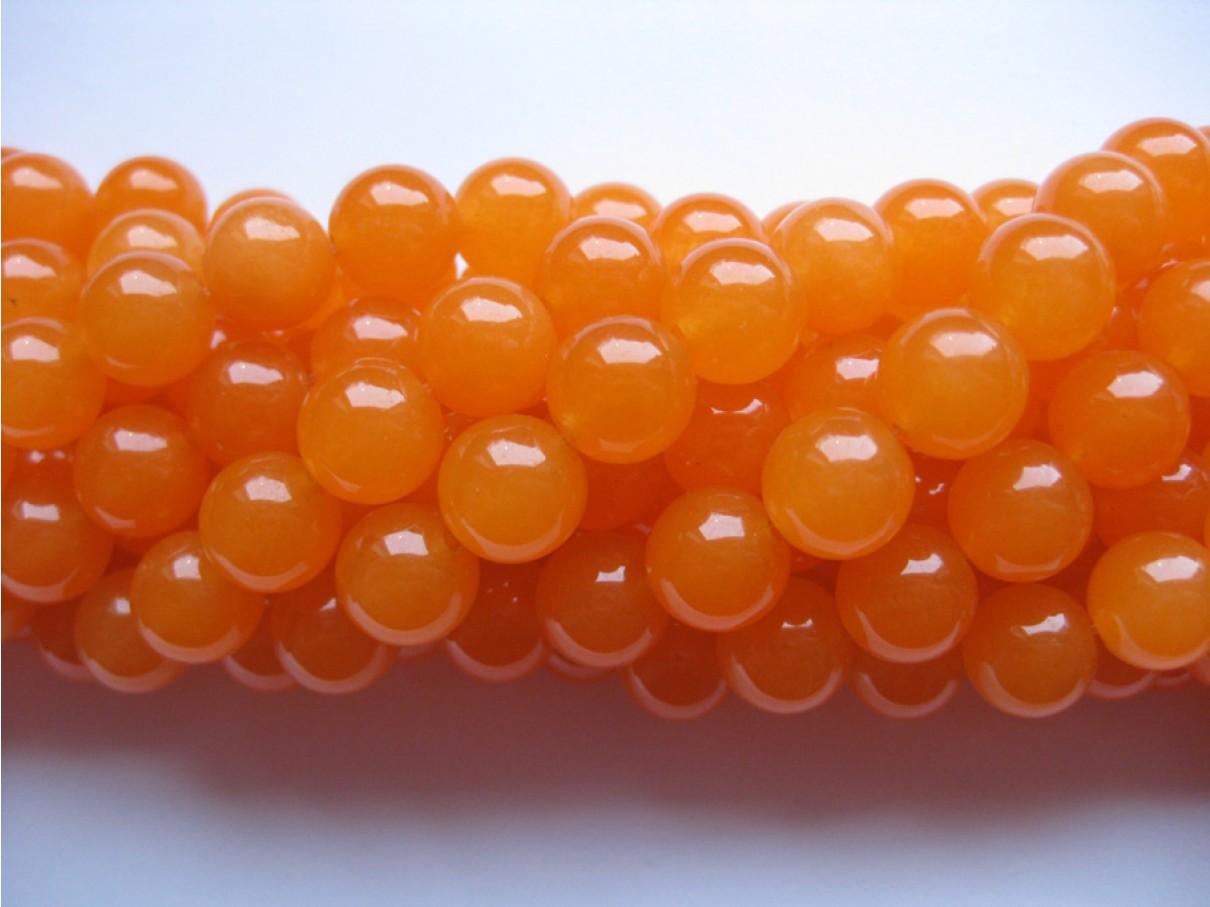 Orange farvet jade, rund 10mm