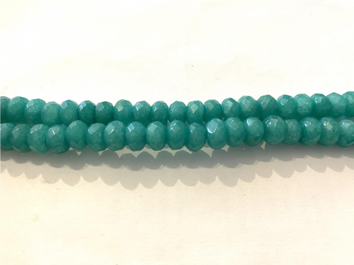 Grøn jade, facetslebne rondeller 5x8mm