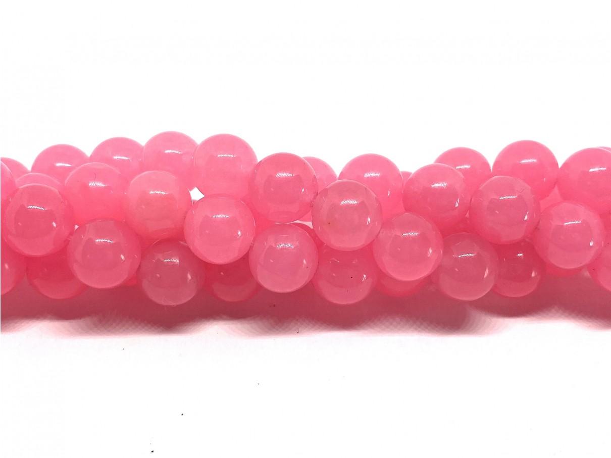 Rosa pink farvet jade, rund 10mm