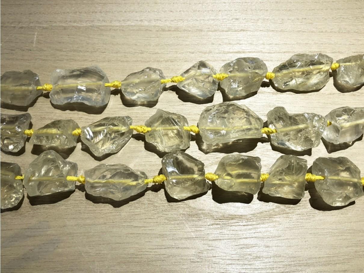 Lemon kvarts, rå nuggets 20x26mm