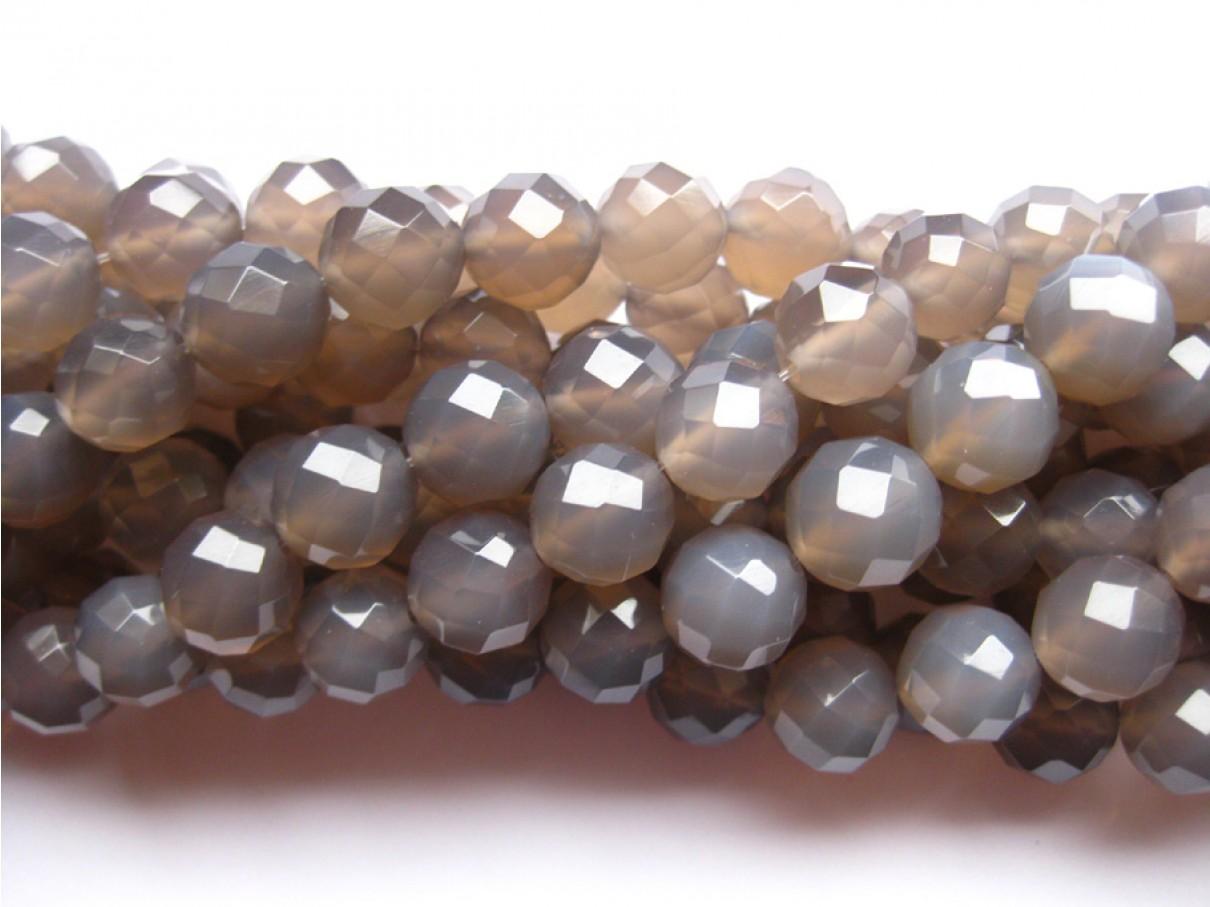 Grå agat, facetslebet rund 8mm (64 facetter)