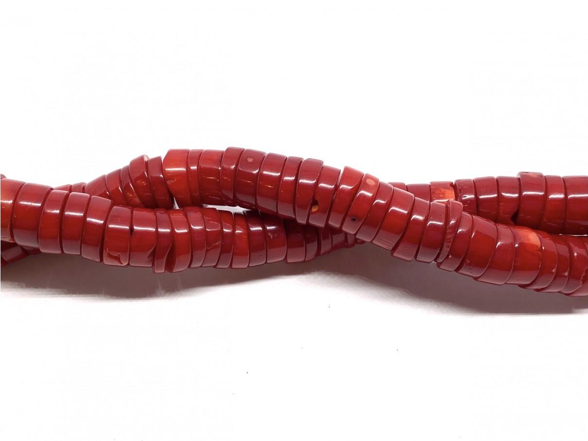 Rød koral, tynde skiver 2x12mm, hel streng