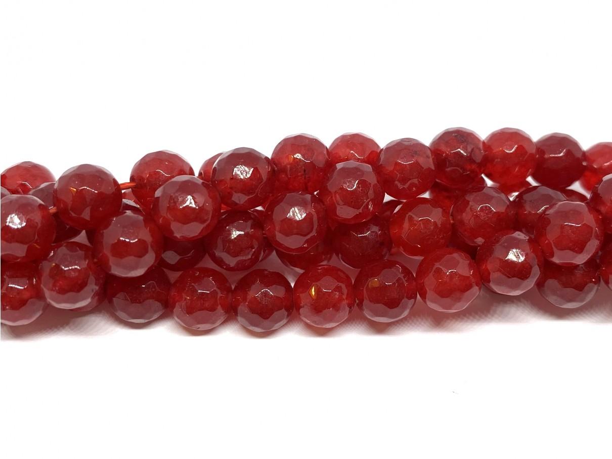 Rød jade, facetslebet rund 8mm