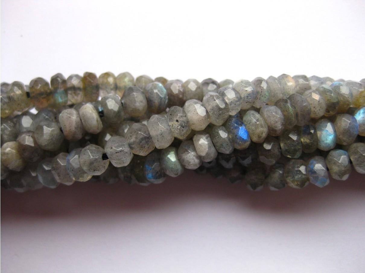 Labradorit (A), facetslebe rondeller 4x6mm