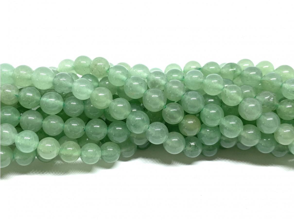 Grøn aventurin, rund 6mm, hel streng