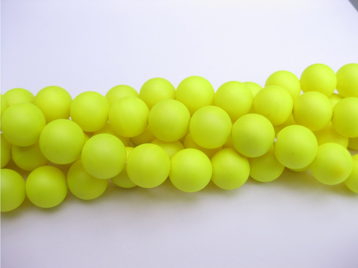 Frosted shell pearl, neon gul 6mm