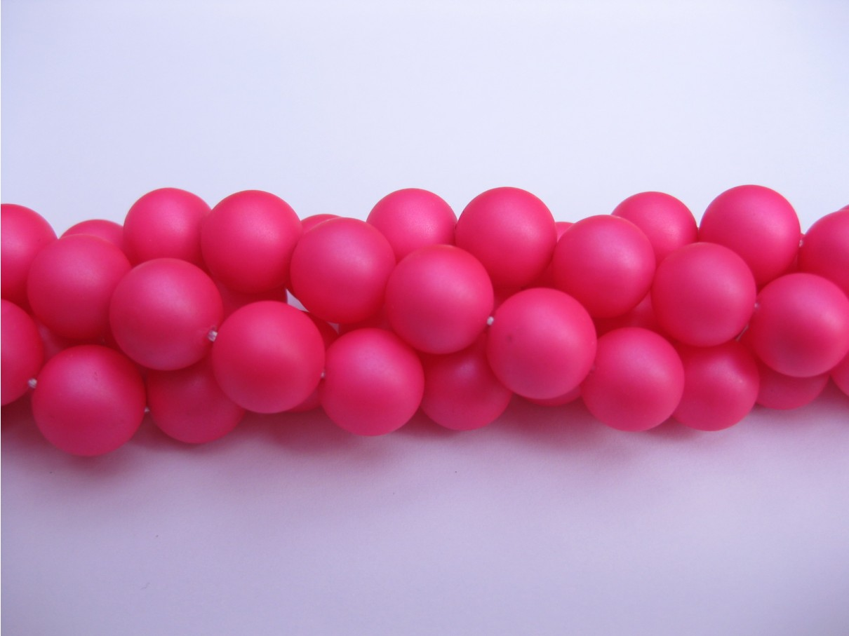 Frosted shell pearl, neon pink 8mm-3
