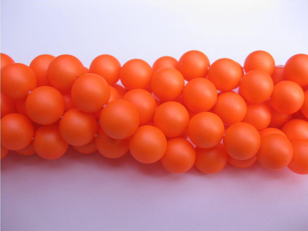Frosted shell pearl, neon orange 6mm, hel streng