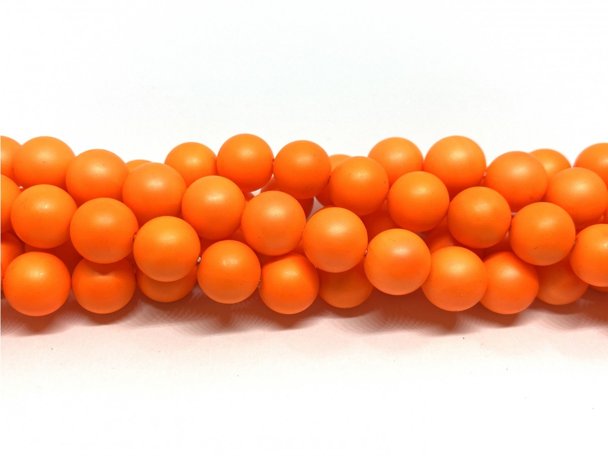 Frosted shell pearl, neon orange 10mm