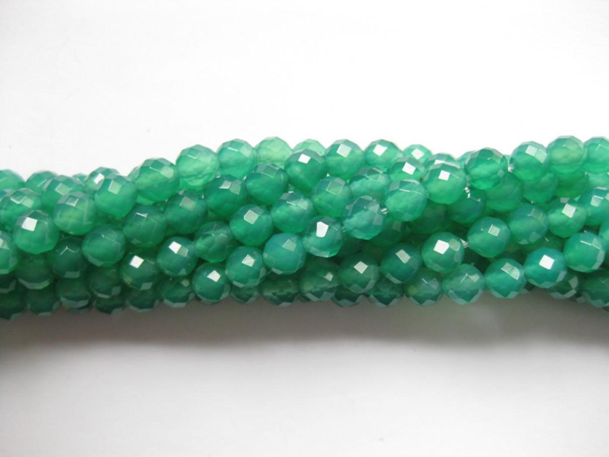 Grøn onyx, facetslebet rund 6mm