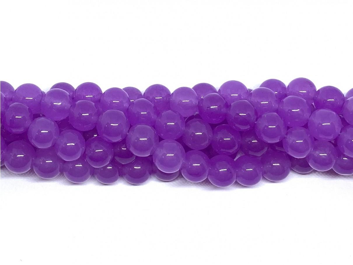 Lys violet jade, rund 8mm, 10 perler
