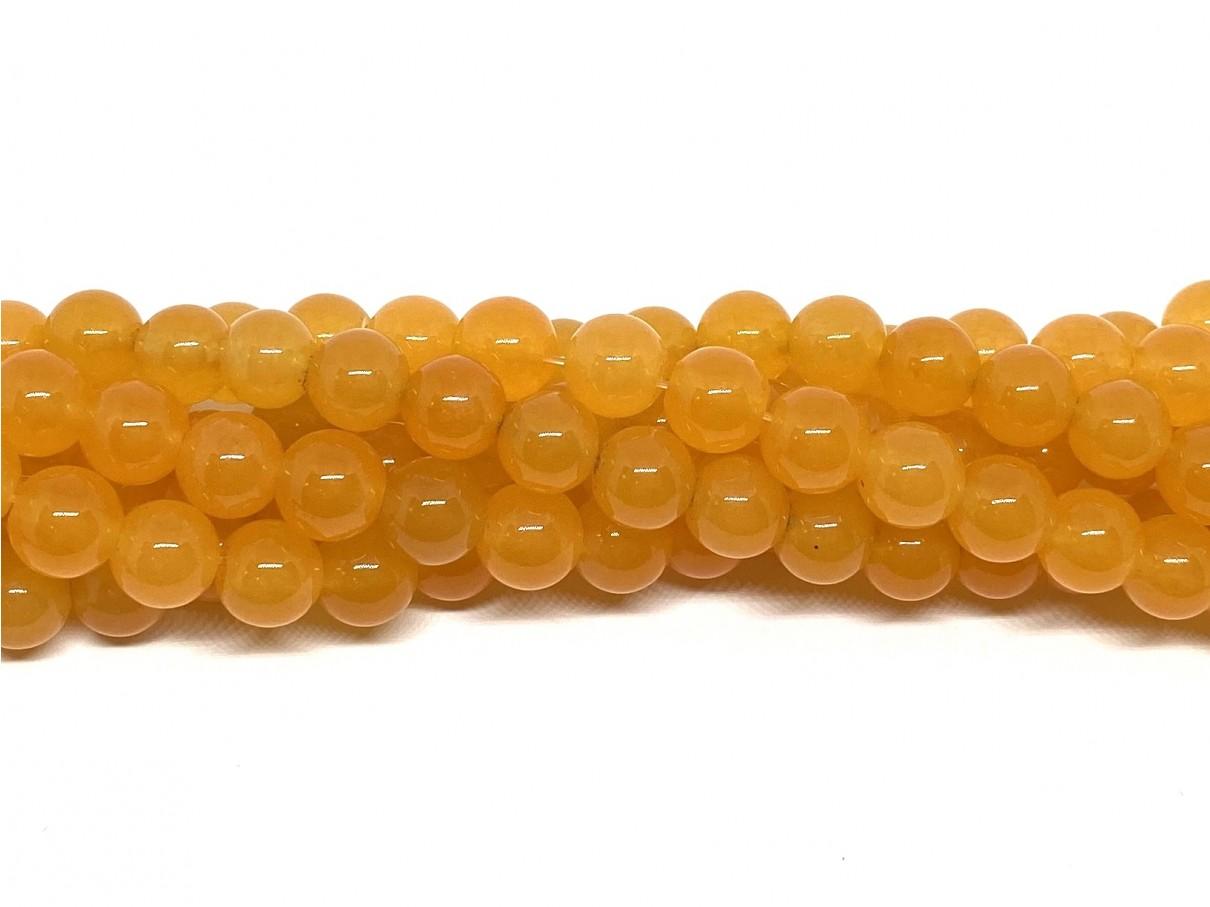 Orange farvet jade, rund 8mm
