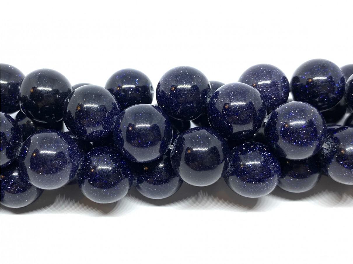 Blå goldstone, rund 12mm