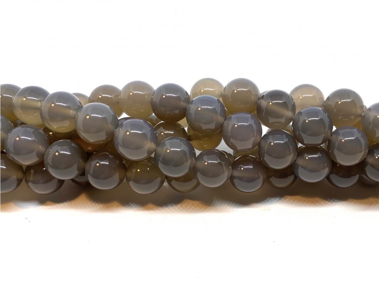Grå agat, rund 10mm