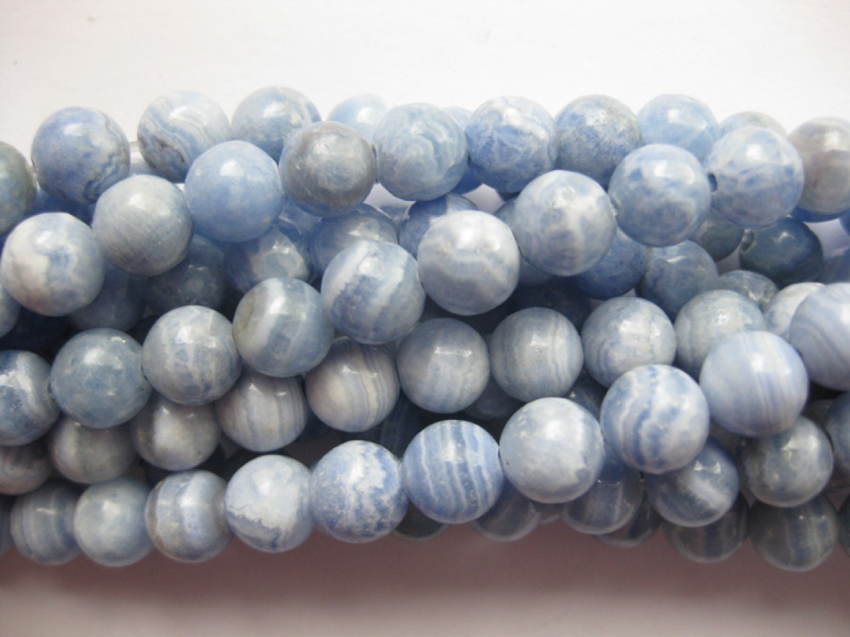 Lys blå Peru rhodonit, rund 8mm