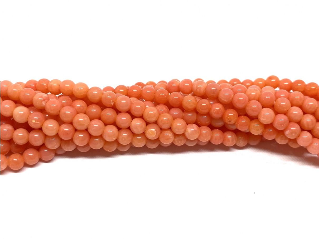 Pink koral, rund 3mm, hel streng