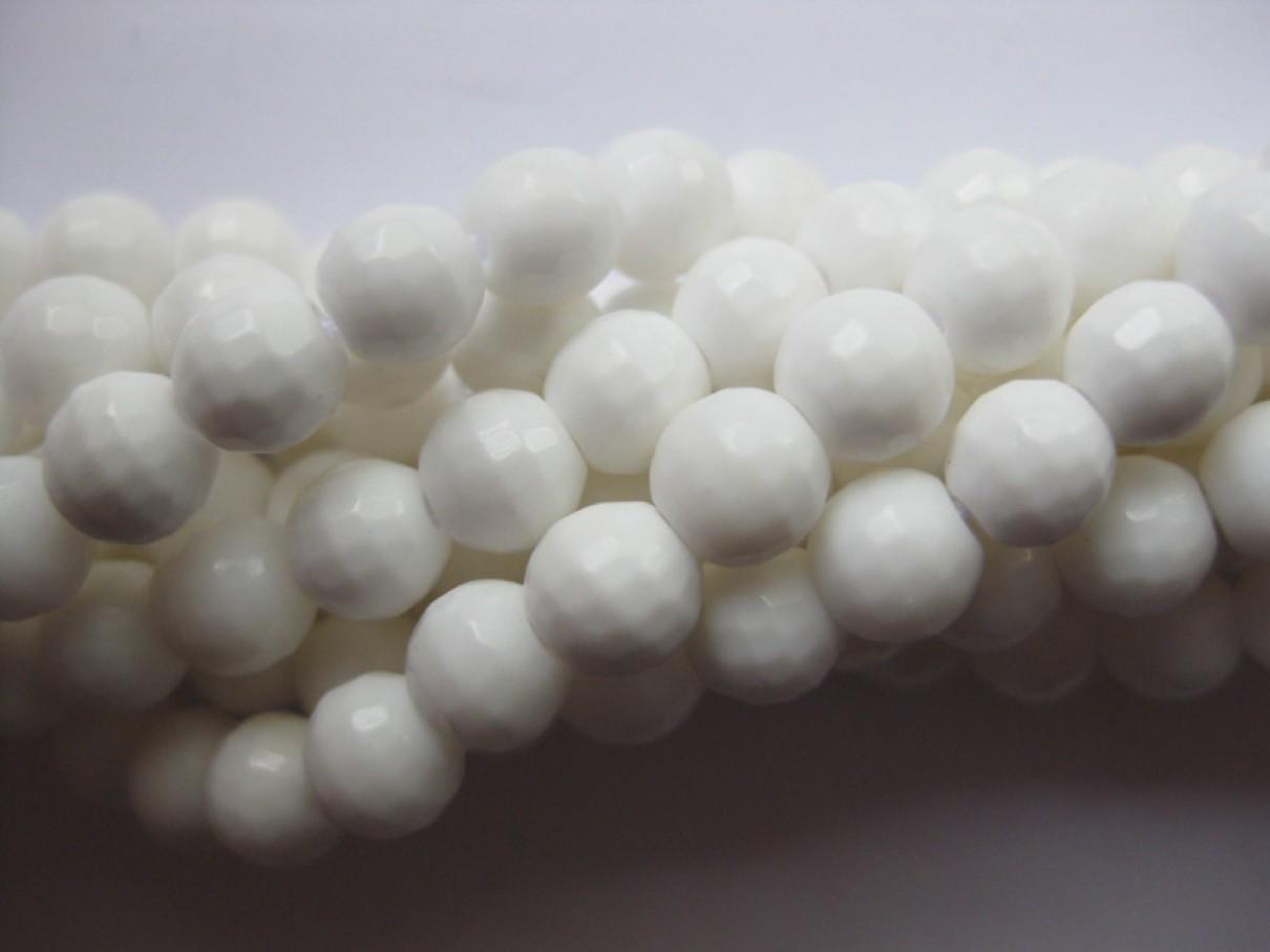 Hvid shell, facetslebet rund 6mm