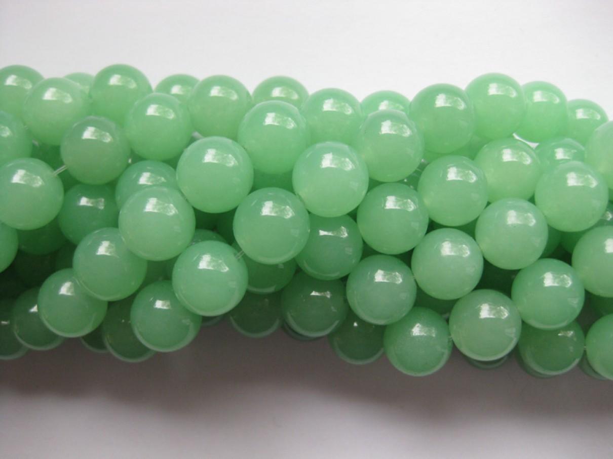 Lys grøn jade, rund 12mm