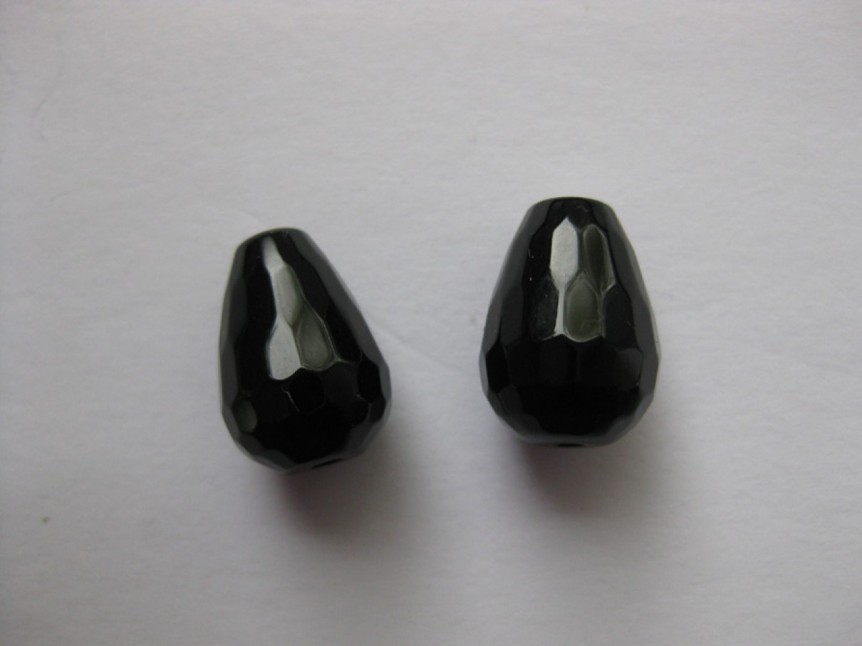 Sort onyx, facetslebet rund dråbe 10x14mm