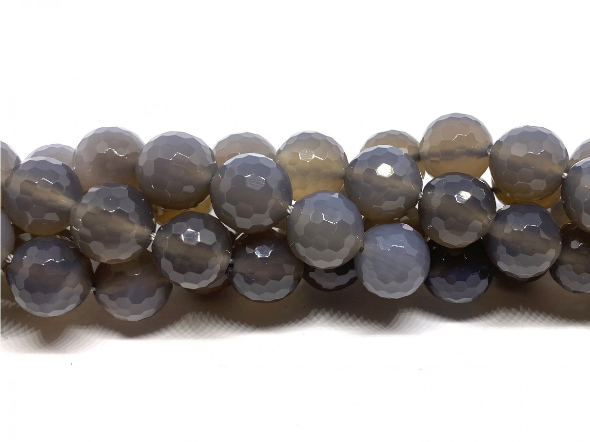 Grå agat, facetslebet rund 12mm (128 facetter)