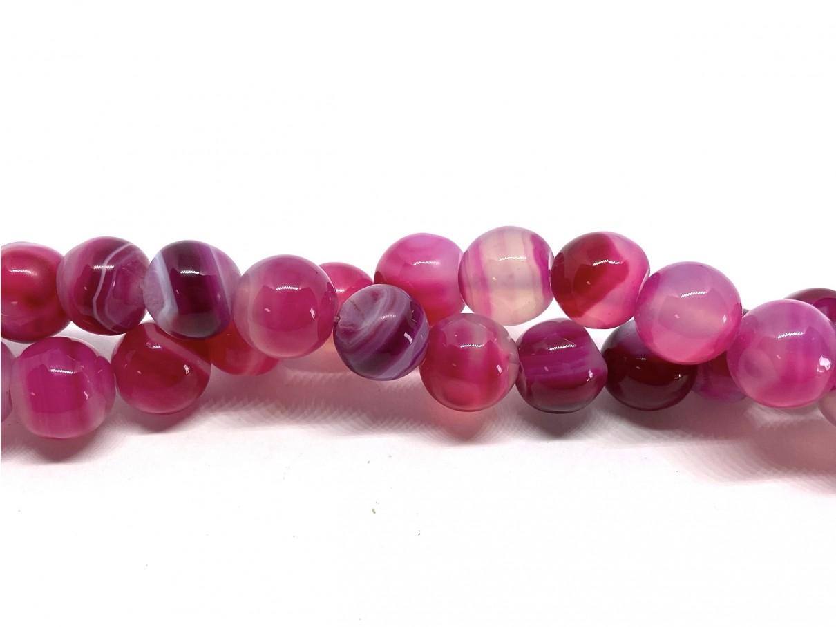 Stribet agat, fuchsia rund 10mm, 11 perler
