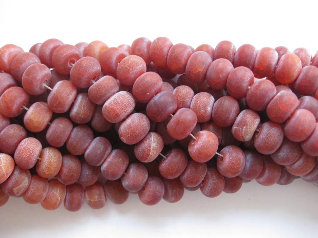 Agat, røde krakkelerede matte rondeller 10x14mm