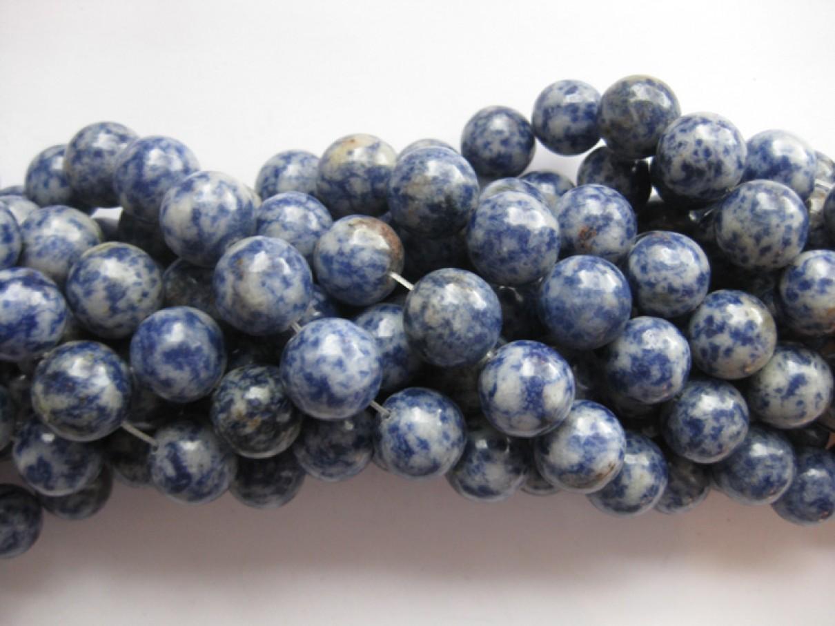 Blå plettet jaspis, rund 14mm