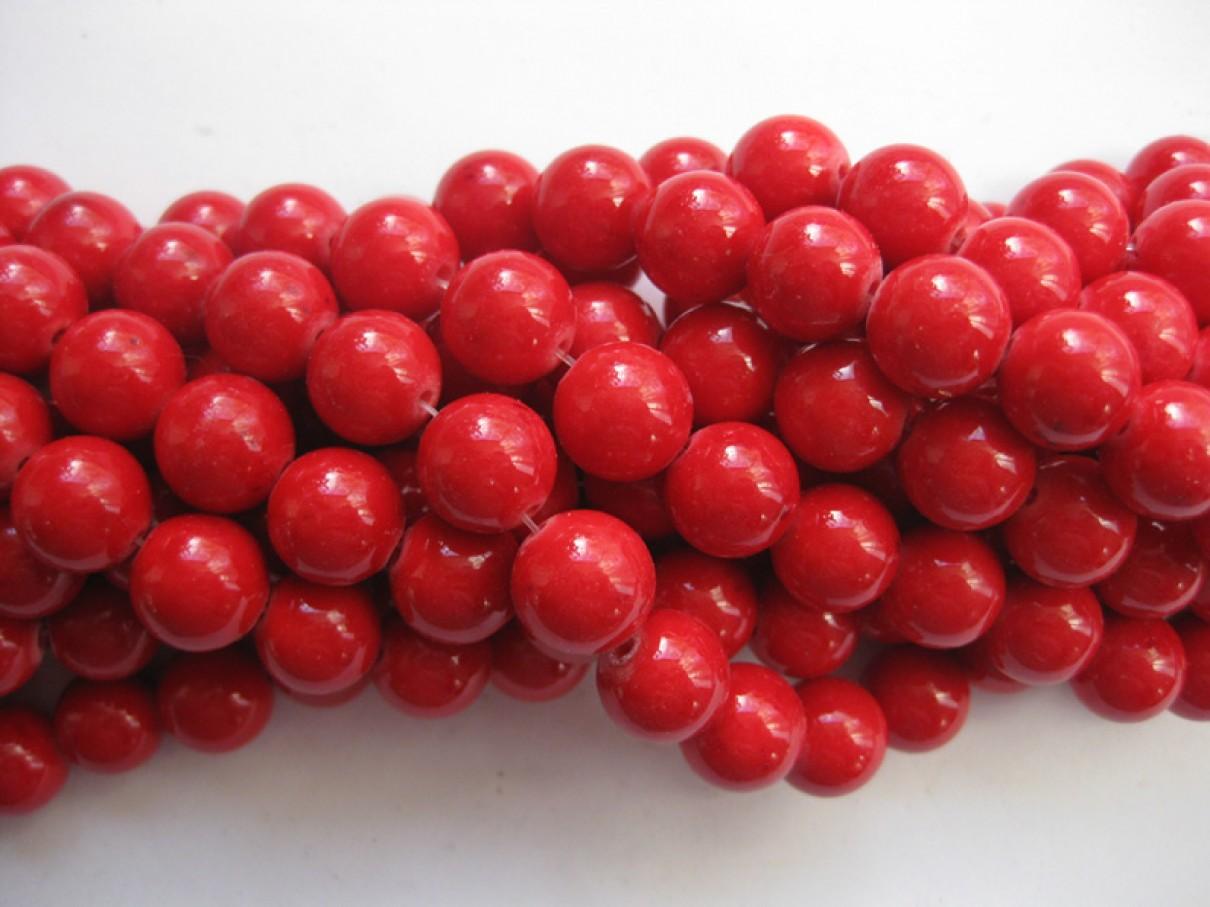 Rød mashan jade, rund 10mm