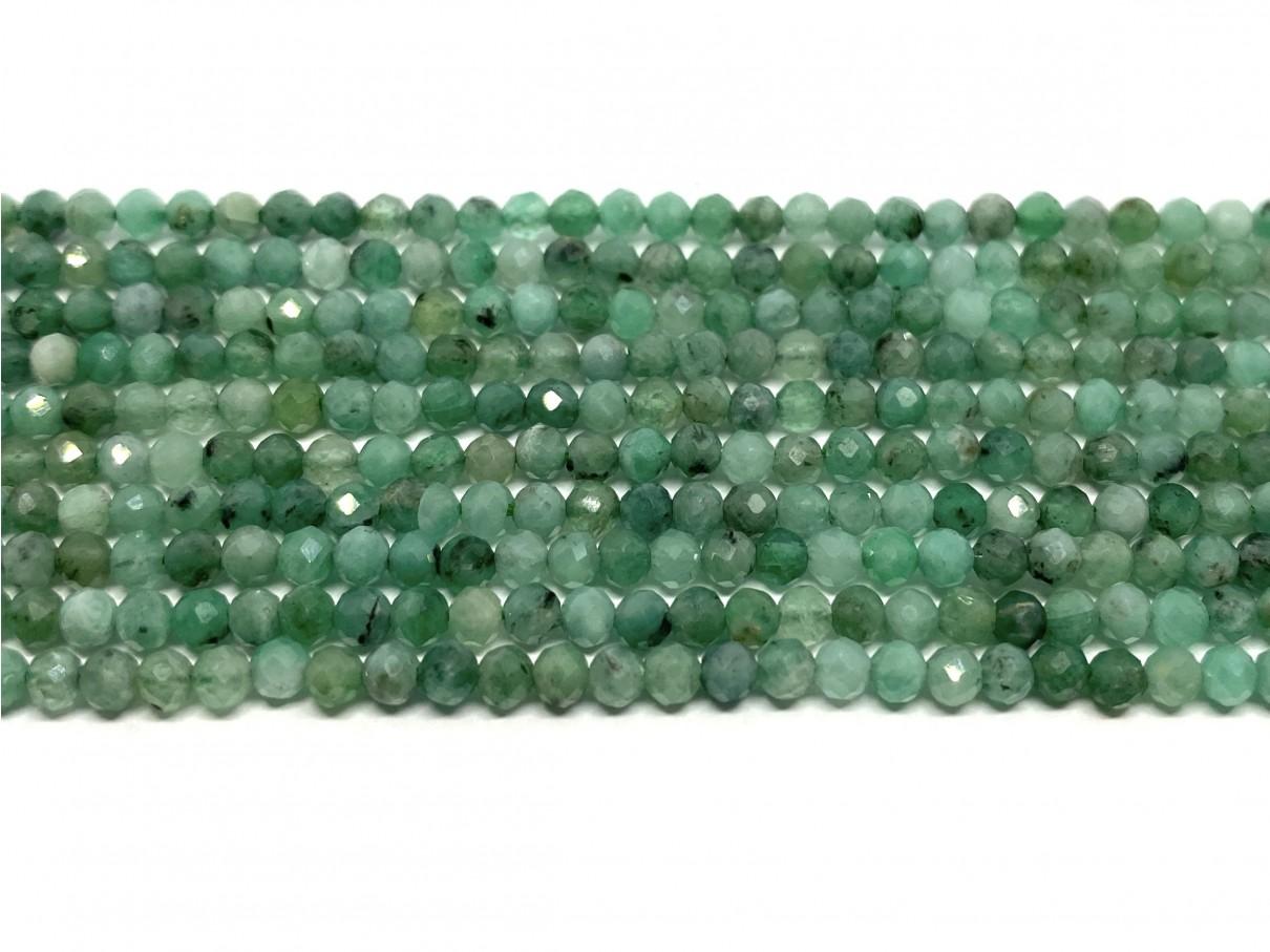 3mm facetslebet smaragd perler